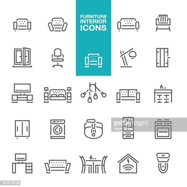 furniture and interior features line  icons - bookstand stock illustrations, clip art, cartoons, & icons