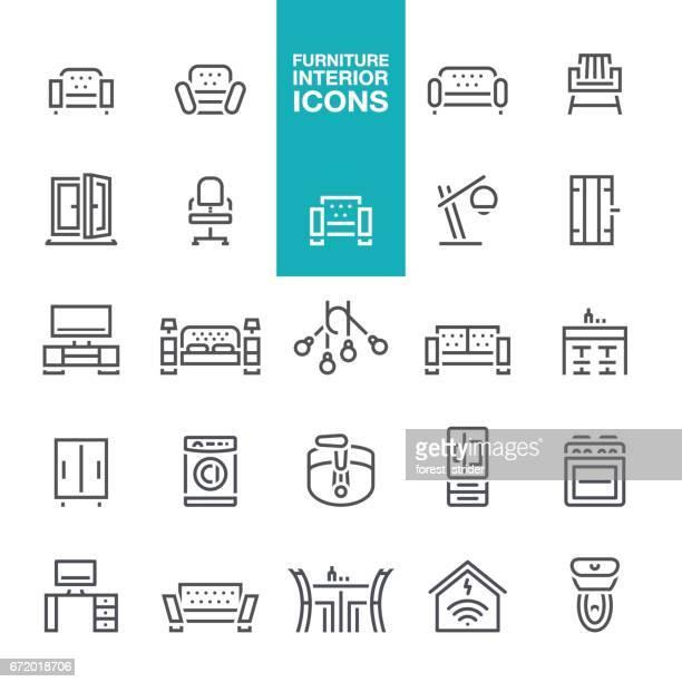 ilustrações, clipart, desenhos animados e ícones de mobiliário e interior apresenta ícones de linha - mesa mobília