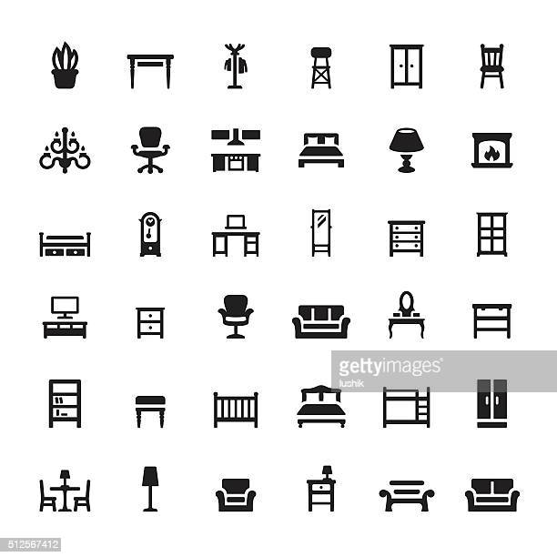 furniture and interior features vector icons - domestic room stock illustrations, clip art, cartoons, & icons
