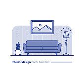Furniture arrangement in living room, simplicity concept, comfortable home, modern interior design