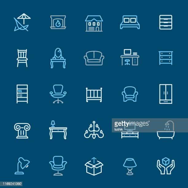 furniture - color outline icons - display cabinet stock illustrations, clip art, cartoons, & icons