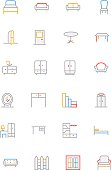 Furniture Colored Line Icons 1