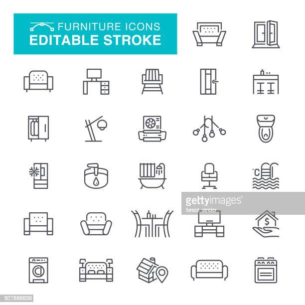 furniture editable stroke icons - house interior stock illustrations, clip art, cartoons, & icons