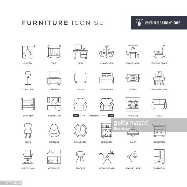 furniture editable stroke line icons - furniture stock illustrations