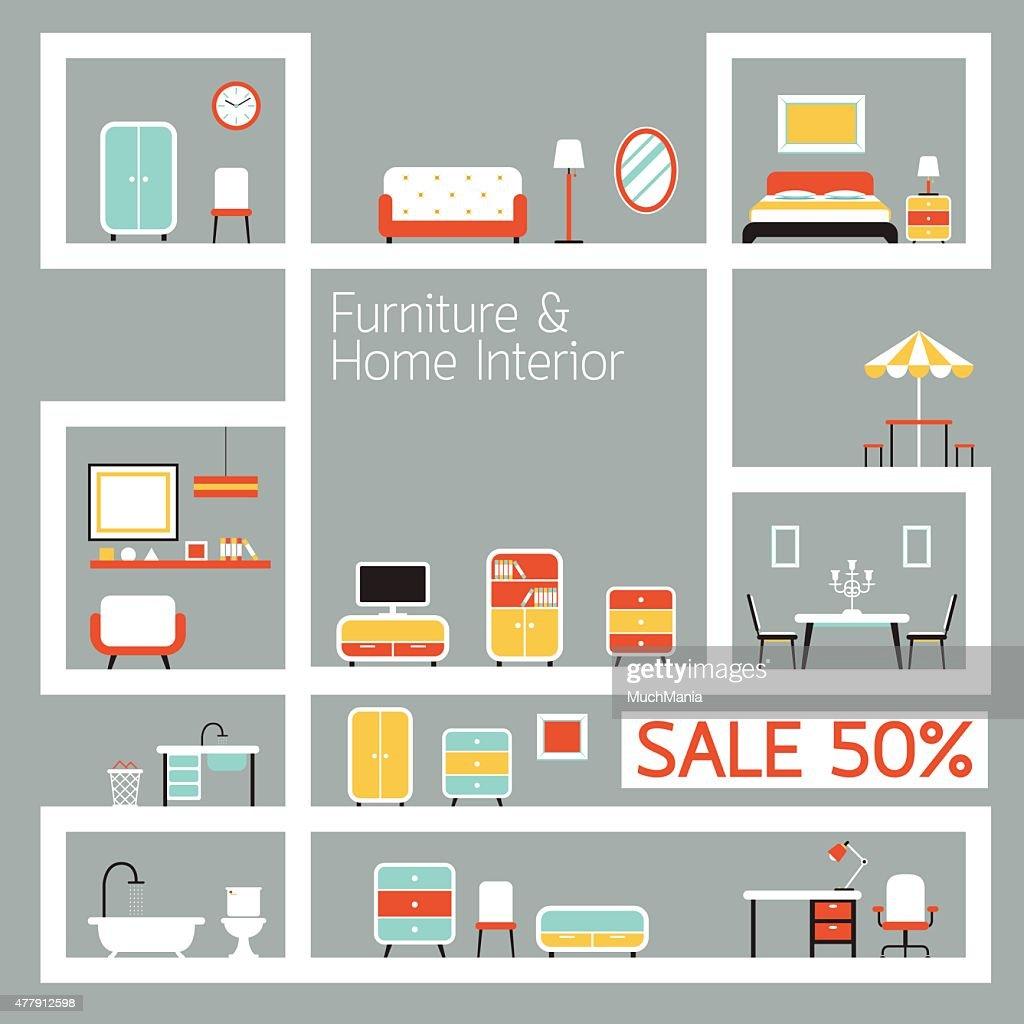 Furniture Flat Design on Shelf Display, Frame