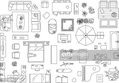 Furniture Floor Plan Vector Art Getty Images