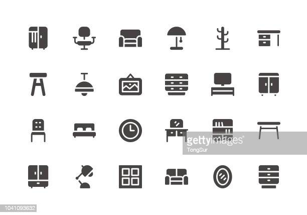 furniture - glyph icons - stool stock illustrations, clip art, cartoons, & icons