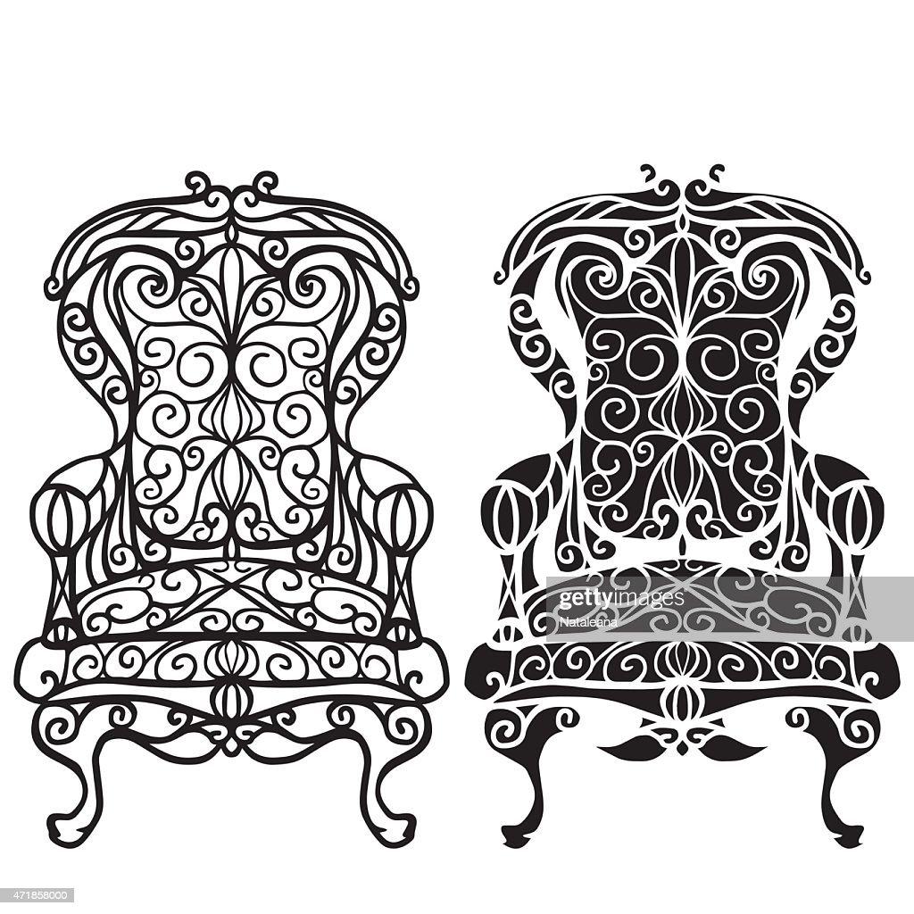 Furniture hand drawn set, vintage chair, armchair