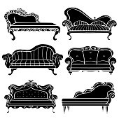 Furniture hand drawn set, vintage sofa, couch