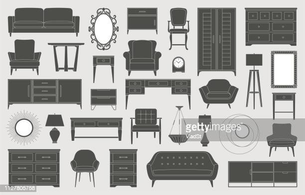 furniture home decor interior design living room bedroom icons - furniture stock illustrations, clip art, cartoons, & icons
