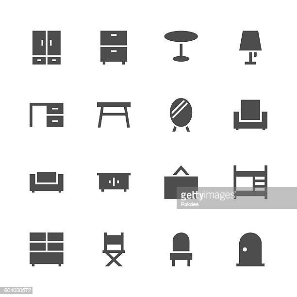 furniture icon - gray series - cabinet stock illustrations, clip art, cartoons, & icons