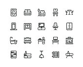 Furniture icon set, outline style