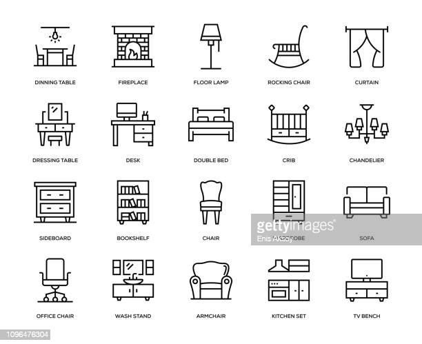illustrazioni stock, clip art, cartoni animati e icone di tendenza di furniture icon set - parte di una serie