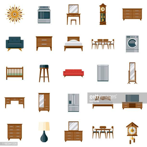 furniture icon set - furniture stock illustrations