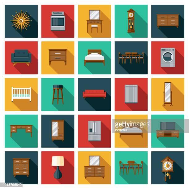 ilustraciones, imágenes clip art, dibujos animados e iconos de stock de conjunto de icono de muebles - mesa de comedor