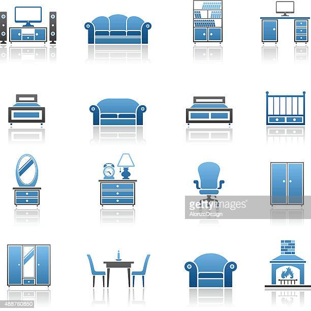 furniture icon set - display cabinet stock illustrations, clip art, cartoons, & icons