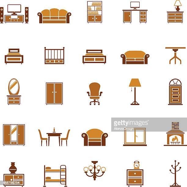 ilustraciones, imágenes clip art, dibujos animados e iconos de stock de conjunto de iconos de muebles - decorar
