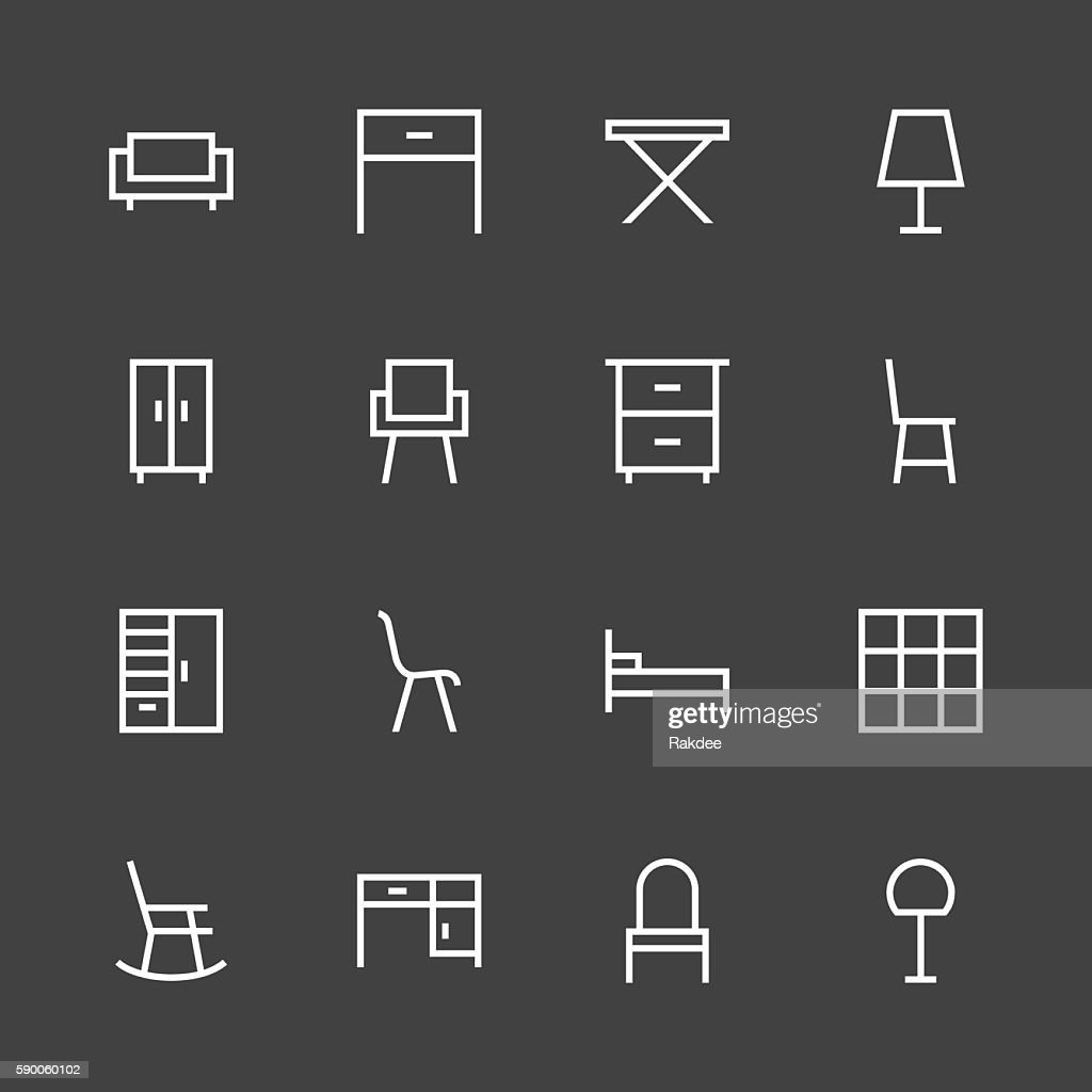 Furniture Icon - White Line Series