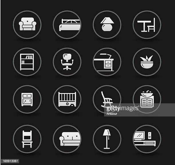 ilustraciones, imágenes clip art, dibujos animados e iconos de stock de furniture icons/negro - display cabinet