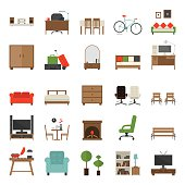Furniture Icons Flat Design