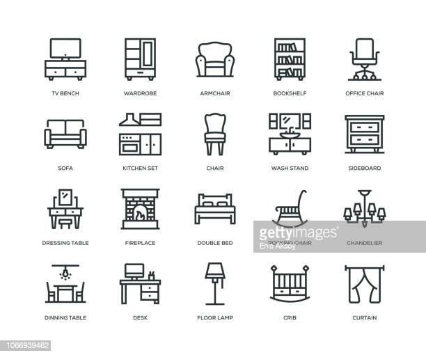 furniture icons - line series - furniture stock illustrations