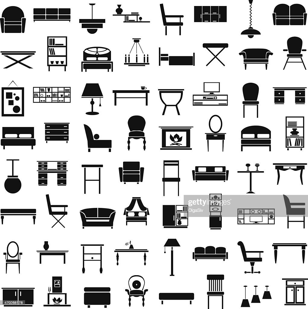 furniture icons on white
