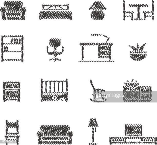 furniture icons // scribble series - display cabinet stock illustrations, clip art, cartoons, & icons