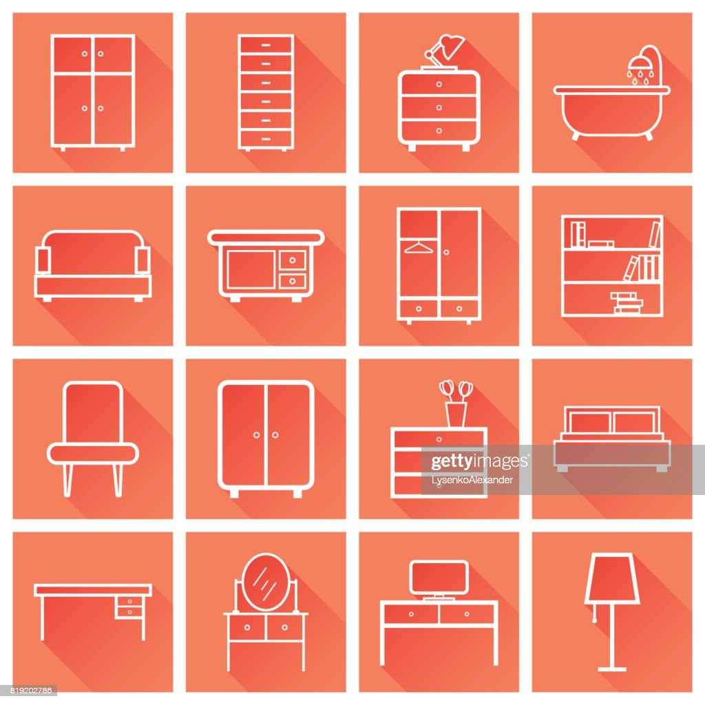 Furniture icons set. Flat vector illustration with long shadow on orange background. Universal icon for web design.