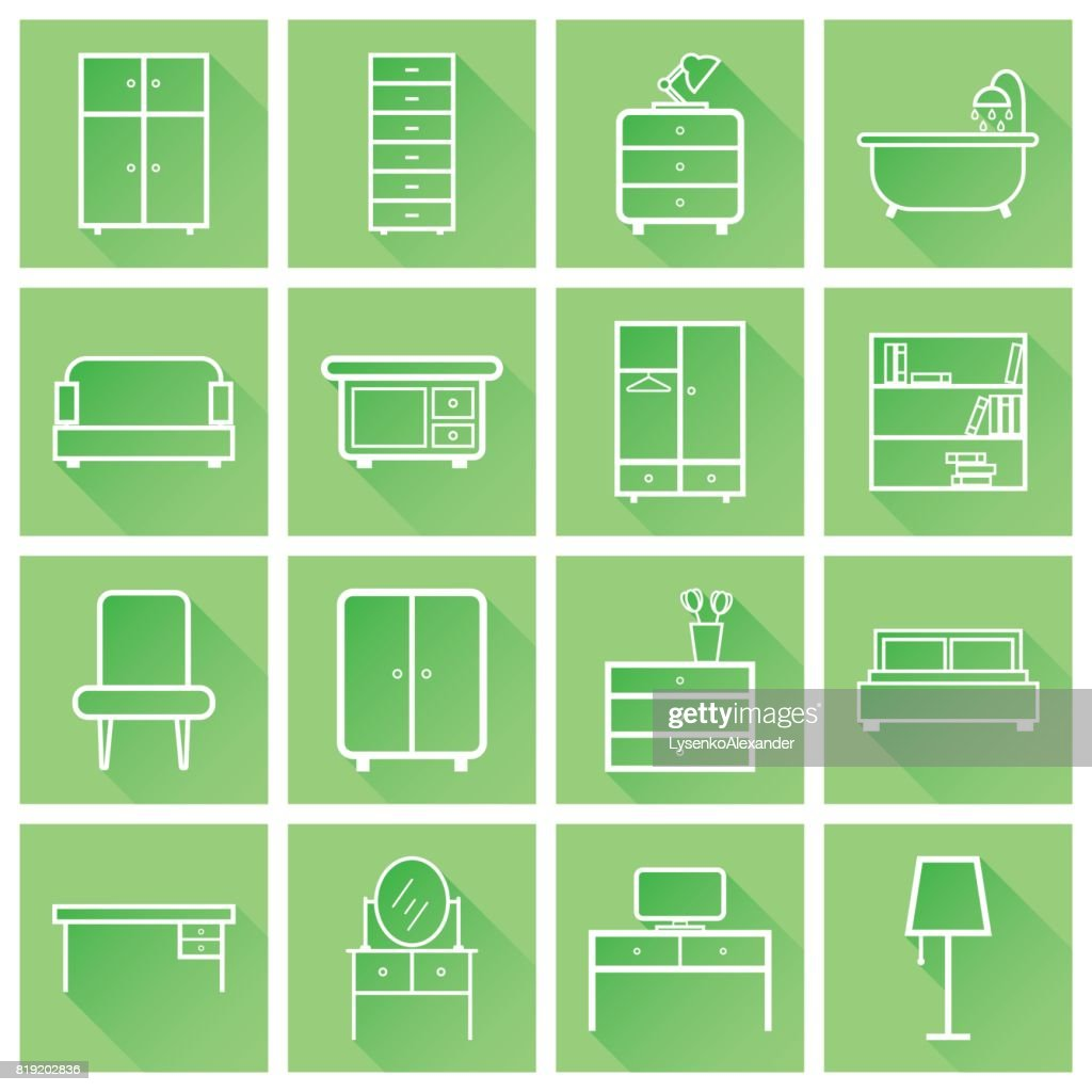 Furniture icons set. Flat vector illustration with long shadow on green background. Universal icon for web design.