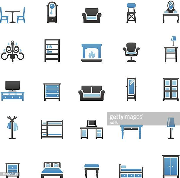 furniture icons set - display cabinet stock illustrations, clip art, cartoons, & icons
