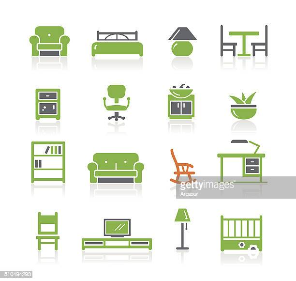 ilustraciones, imágenes clip art, dibujos animados e iconos de stock de furniture icons/resorte serie - display cabinet