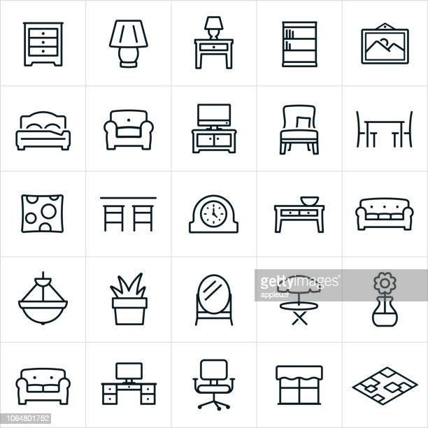 furniture icons - stool stock illustrations, clip art, cartoons, & icons