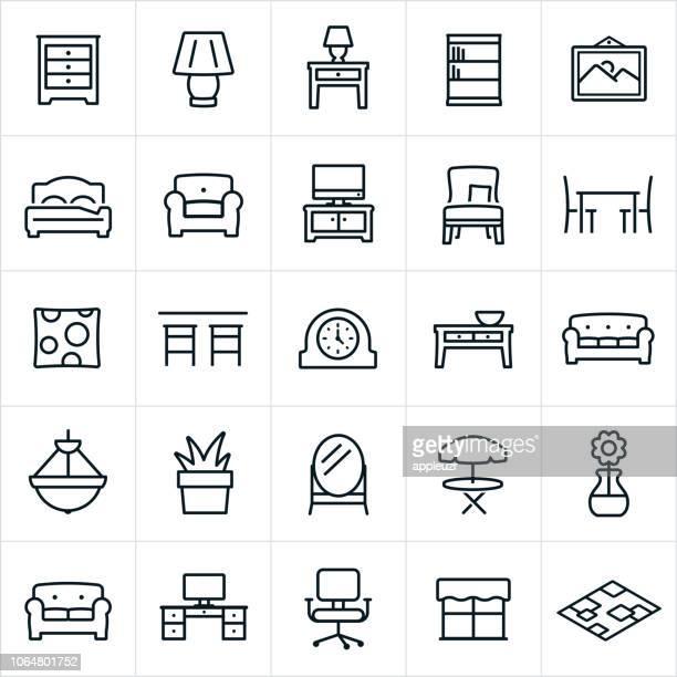 ilustraciones, imágenes clip art, dibujos animados e iconos de stock de iconos de muebles - mesa de comedor