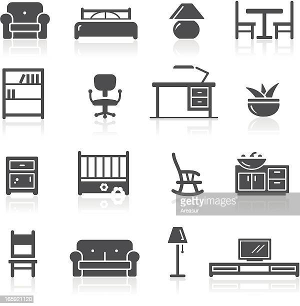 furniture icons - furniture stock illustrations, clip art, cartoons, & icons