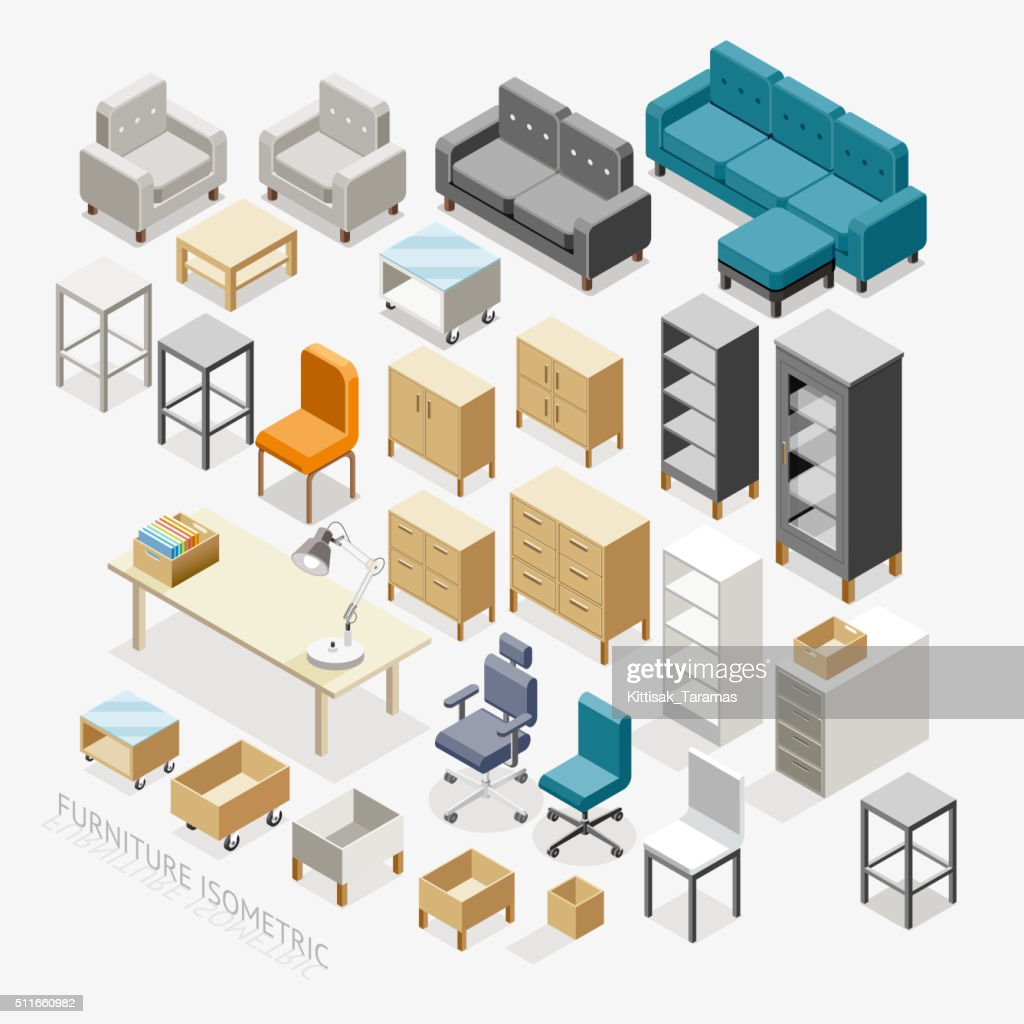 Furniture isometric icons.
