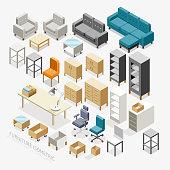 Furniture isometric icons.