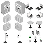 Furniture Isometric icons. Vector Illustration.Bedroom set. concept web infographics vector illustration.White background