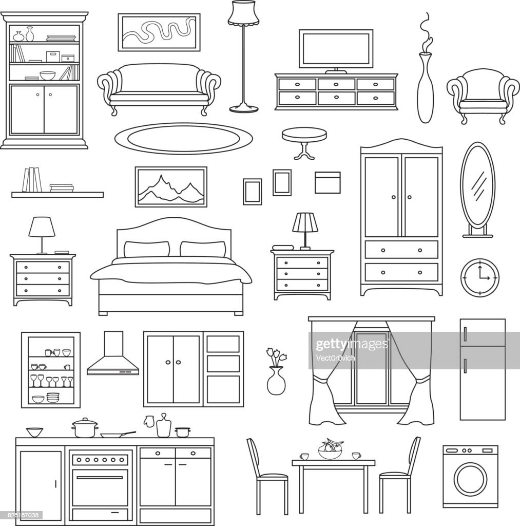 Furniture Items Set in linear style. Living Room, Bedroom, Kitchen Interior Elements.