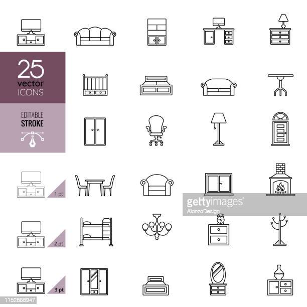 furniture line icon set. editable stroke. - display cabinet stock illustrations, clip art, cartoons, & icons