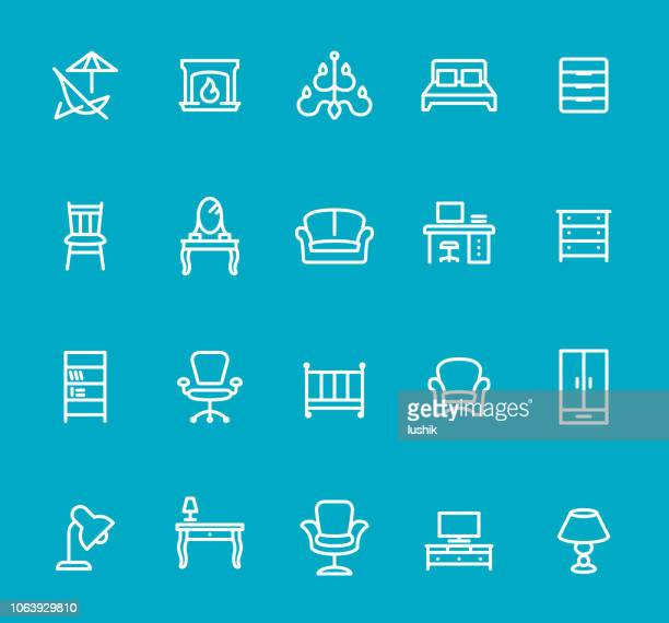 furniture - line icon set - display cabinet stock illustrations, clip art, cartoons, & icons