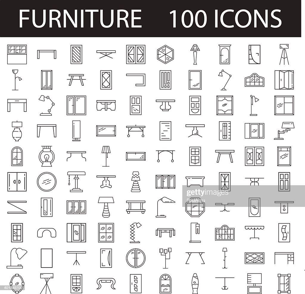 Furniture line icon set.