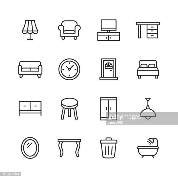 家具ラインアイコン。編集可能なストローク。ピクセルパーフェクト。モバイルとウェブ用。ランプ、アームチェア、テレビベンチ、デスク、ソファ、ソファ、ドア、ベッド、ワードローブ� - 家具点のイラスト素材/クリップアート素材/マンガ素材/アイコン素材