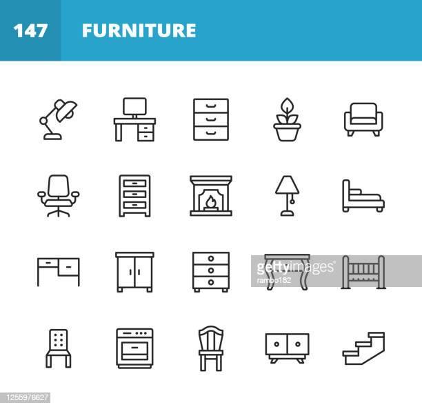illustrations, cliparts, dessins animés et icônes de icônes de ligne de meubles. course modifiable. pixel parfait. pour mobile et web. contient des icônes telles que meubles, architecture, lampe, bureau, usine, miroir, fauteuil, cheminée, four, chaise, table de toilette, garde-robe, chaise de bureau. - furniture