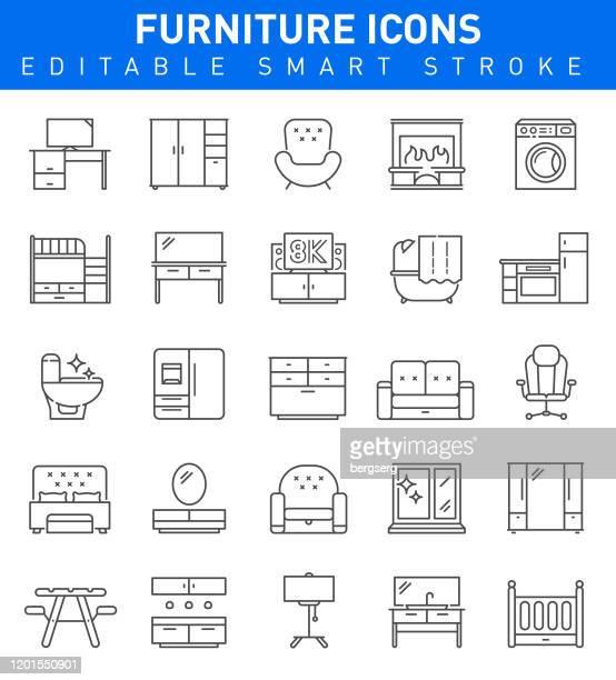 家具ラインアイコン。編集可能ストローク ベクトルのイラスト - 棚点のイラスト素材/クリップアート素材/マンガ素材/アイコン素材