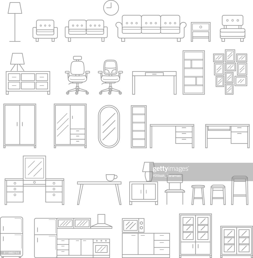 Furniture line icons style.