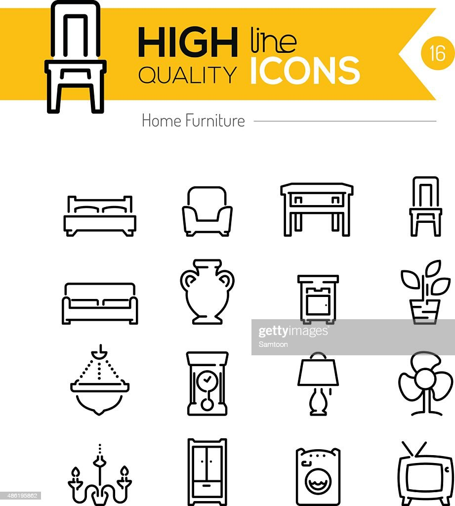 Furniture line icons