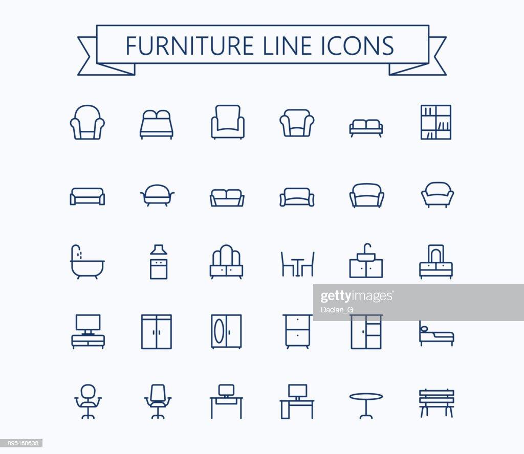 Furniture line mini icons.Editable stroke. 24x24 grid. Pixel Perfect.