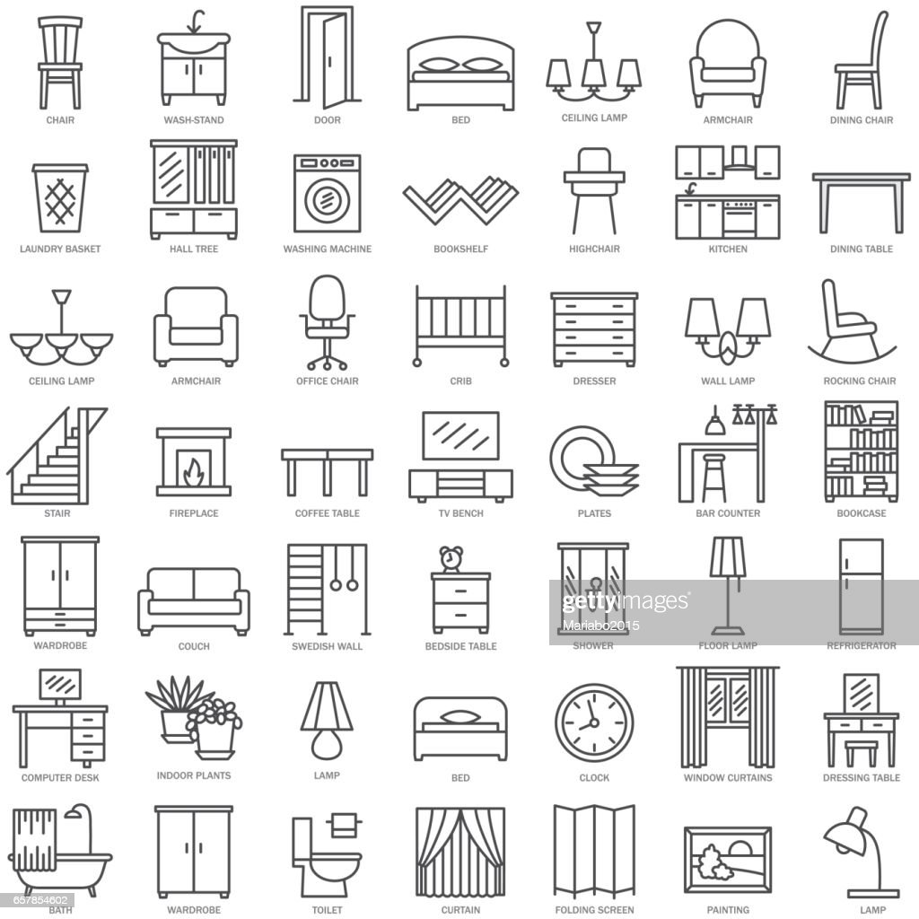 Furniture linear icons