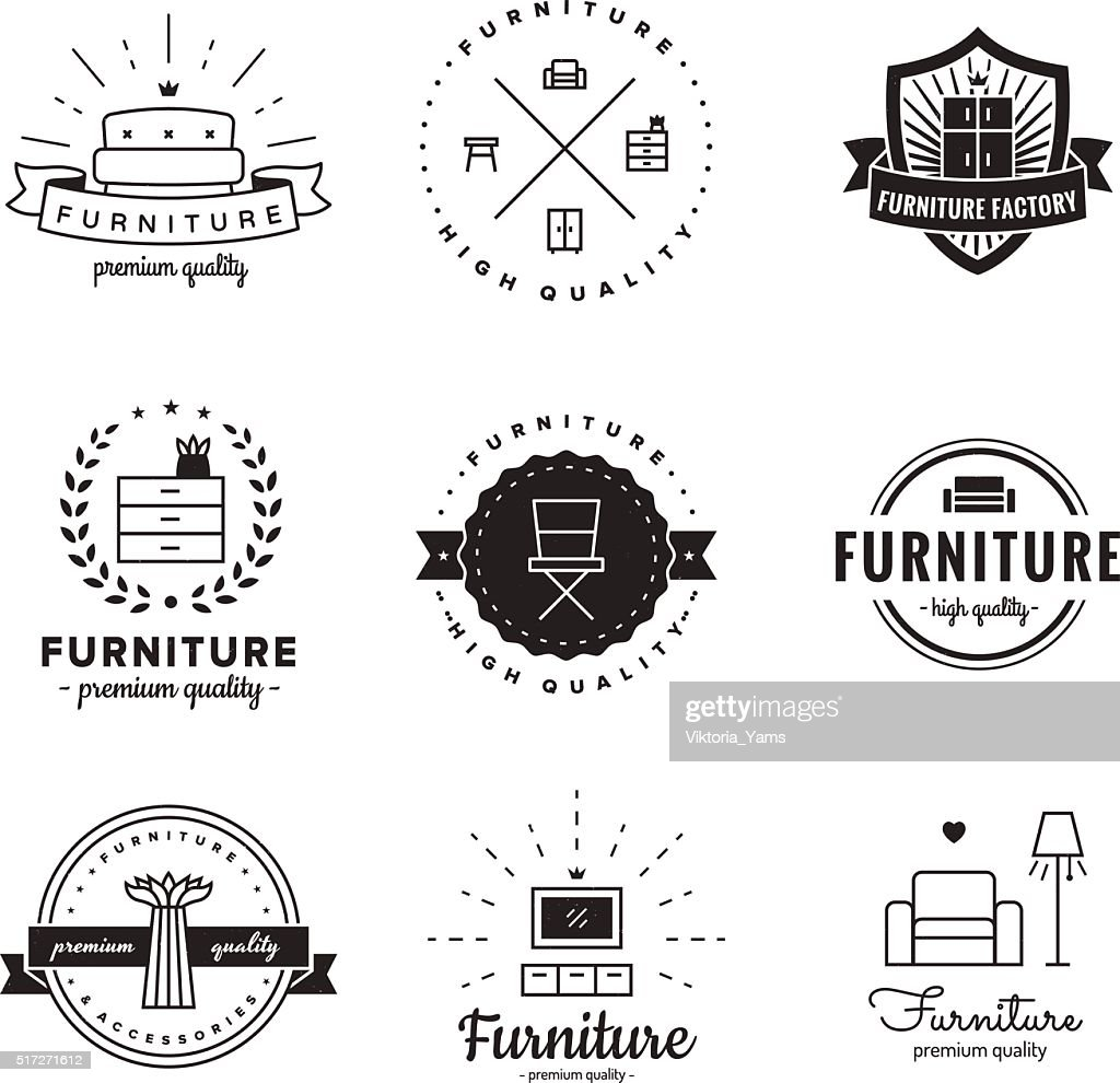 Furniture logo vintage vector set. Hipster and retro style.
