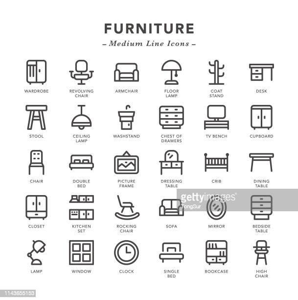 家具-中線のアイコン - 棚点のイラスト素材/クリップアート素材/マンガ素材/アイコン素材